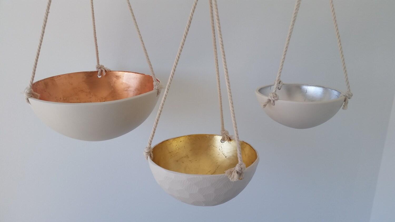 Metallic Hanging Bowls, Copper, Gold or Silver Leaf Porcelain, 3 Size Options