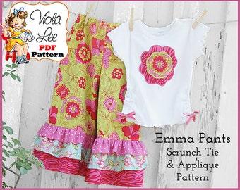 Girl's Ruffled Pants Pattern pdf, Capris Pattern. PDF Sewing Pattern. Plus iron-on Applique - Scrunch Ties Pattern. Toddler Pattern. Emma
