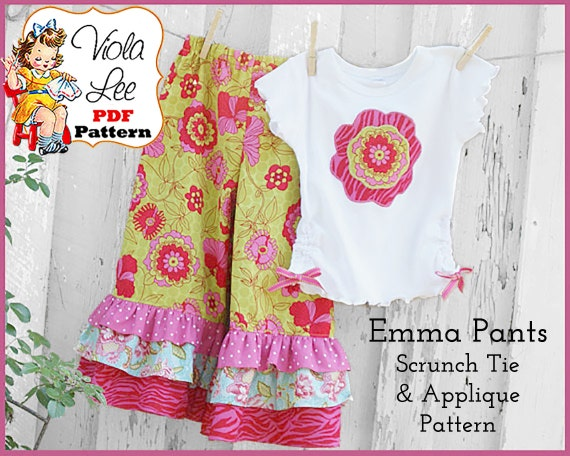 Girl's Ruffled Pants Pattern pdf, Capris Pattern. PDF Sewing Pattern. Plus iron-on Applique - Scrunch Ties Pattern. Toddler Pattern. Emma