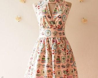 SALE A Tea Party - Tea Dress Cute Summer Dress Pink Party Dress High Neck Dress Vintage Retro Dress Bridesmaid Dress - Size S, L