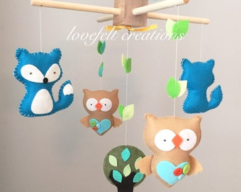 Baby mobile - animals Mobile - forest Mobile - woodland animals Mobile - neutral Mobile