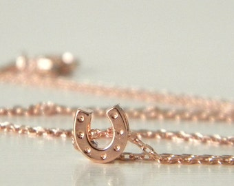 Tiny Rose Gold Horseshoe Charm Necklace