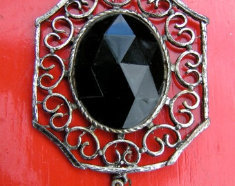 60s Hippy Amulet Large Black Glass Prism Silvertone Filigree to wear or hanging decor