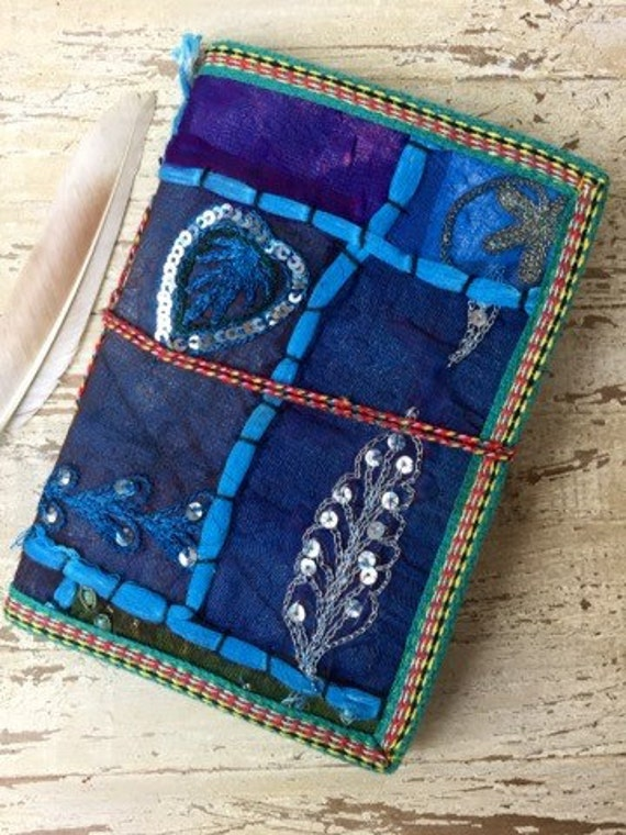 OCEAN BLUE JOURNAL - Indian sari notebook -Student -Journal -Back to school -Sketch book -Handmade paper -Recycled Paper- Photo Album- Diary