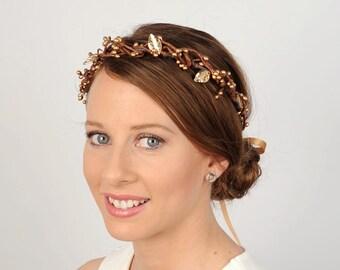 Autumn Berry and Leaf Crown, Rustic Bridal Headband, Wedding Head Piece, Twig Wedding Headband, Hair Wreath, Bridal Hair Accessory