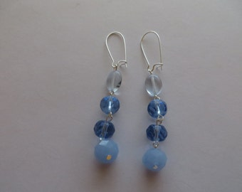 Handcrafted Silver Tone Shade of Blue Glass Beads Earrings