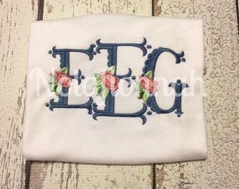 floral monogram shirt, girls floral monogram, flower monogram shirt, baby floral monogram, big monogram shirt