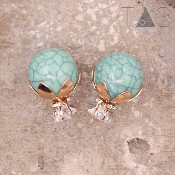 Turquoise Front and Back Earrings / Marble Earrings / Stud Earrings