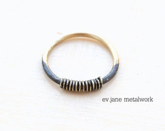 Wire Stacking Ring Brass Black Oxidized Soldered Rustic Band Metalwork Boho Hippie