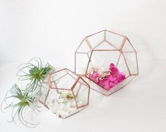 Wedding Decor, Geometric Glass Terrarium, Gift For Girlfriend, Dodecahedron,  Modern Terrarium, Indoor Gardening.