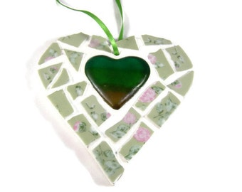Green Glass Mosaic Heart