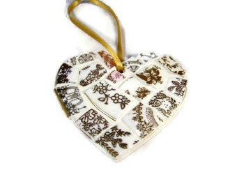 Small Gold Mosaic Heart