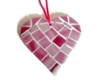 Pink Stained Glass Mosaic Hanging Heart