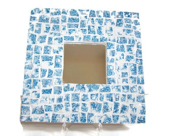 Blue and White Broken China Mosaic Wall Mirror