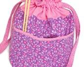 Drawstring Project Bag / Knitting Project Bag - Pink Floral