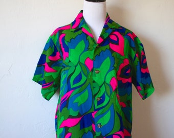 Vintage Psychedelic Hawaiian Print Blouse