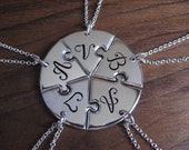 Five Personalised Best Friend Circular Pendant Necklaces