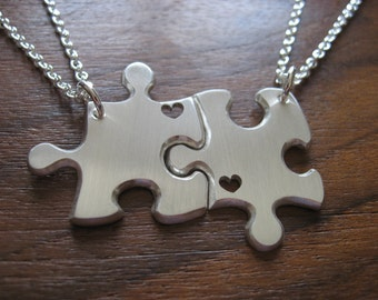 Two Best Friend Puzzle Pendant Necklaces Matte