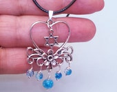 Magen David Necklace Pendant - Silver Heart & Blue with Leather chain, Judaica Israeli Fashio David Srtar Necklace