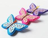 Beaded Butterfly Brooch Felt Butterfly Pin Pink Blue Purple Butterfly Brooch Felt jewelry Kids jewelry