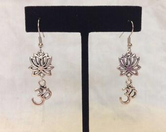 Silver Lotus Om Earrings