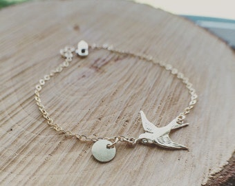 Bird Bracelet - Bird Initials Bracelet - Swallow Bird Initials Bracelet - Everyday Jewelry/ Personalized Gift/ Mothers Gift/ Wife Gift