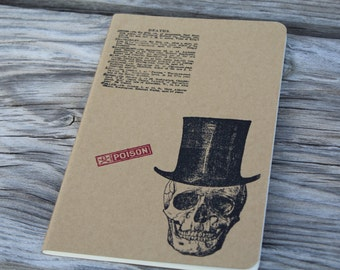 Top Hat Skull Gothic Journal Lined Notebook