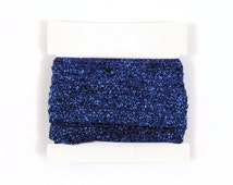 Glitter Elastic, stretch 3/8th inch For Glitter Headbands and Hairties- 5 or 10 yards - Blue
