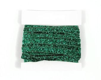 Christmas 3/8th inch Stretch Glitter Elastic For Glitter Headbands - 5 or 10 yards - Emerald FOE