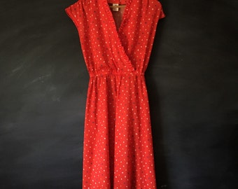 Vintage V Neck Wrap Red Print Ruffle Dress