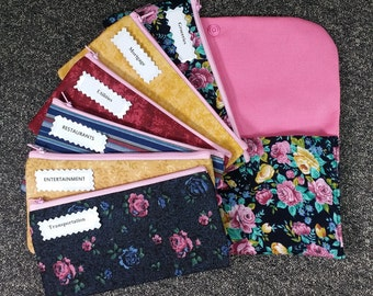 Budget Envelope wallet, 5 to 15 Cash Envelopes & Clutch -Garden of Roses (It can be used with the Dave Ramsey system)