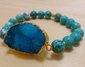 Blue-Green Beaded Bracelet with Gold-Plated Blue Druzy Charm