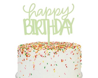 Green Frost Happy Birthday Cake Topper
