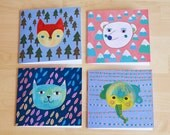 four postcards with lovely animal prints