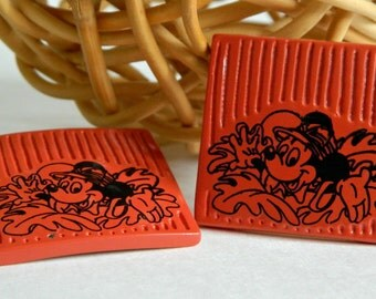 Chunky & Fun Vintage Mickey Mouse Safari Earrings- Orange Square Post Back Walt Disney Prods. Rare