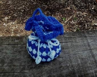 Small Crocheted Drawstring Bag - Crochet Gift Bag - Crochet Drawstring Pouch - FREE UK DELIVERY