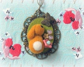 Handmade brown rabbit pendant necklace, needle felted bunny with butterfly necklace, Easter jewelry, whimsical jewelry, gift under 25