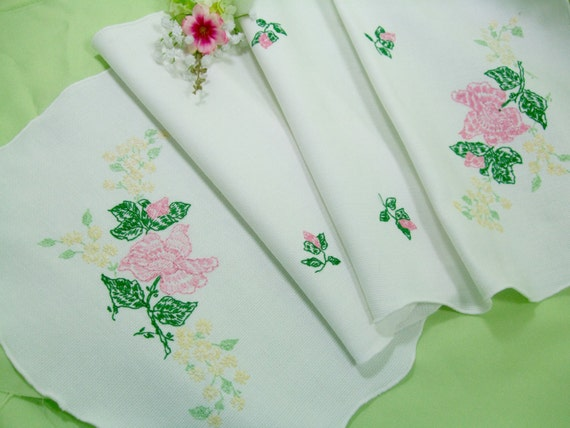 Embroidered table runner dresser scarf pink roses rose buds