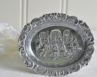 Petite tray,  vintage metal tray,ornate ashtray, needle cup, repousse plate