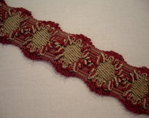 Lyon, France Ruby & Tan Ornate French PASSEMENTERIE Galon Braid Trim - Imported from Lyon, France - Free Ship - 14.5 yds - 2 AVAILABLE -