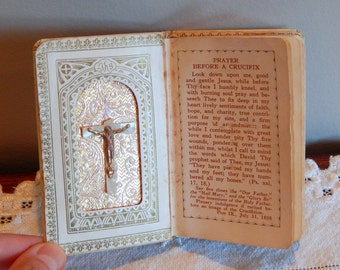 Antique Children's Prayer Book First Holy Communion Prayers for Little Children Mother of Pearl