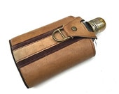 Unused Glass Flask with Brown Vinyl Man Pouch, Midcentury Modern HIP Flask, Gift For Groomsman, Alcohol Flask