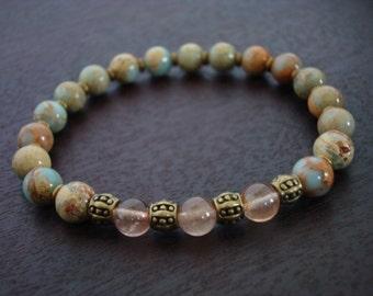 Women's Stress Relieving Mala Bracelet - Heart Chakra Mala Bracelet - Yoga, Buddhist, Meditation, Prayer Beads, Jewelry
