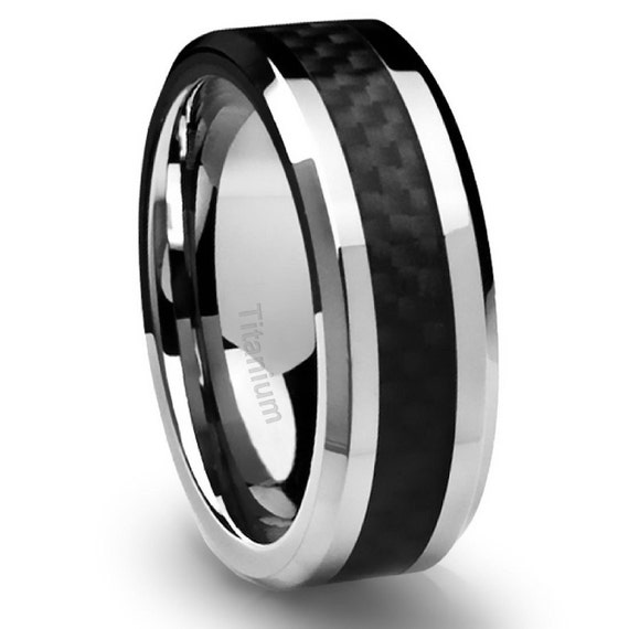 Men39s titanium ring wedding band black carbon fiber 8mm for Black wedding ring men