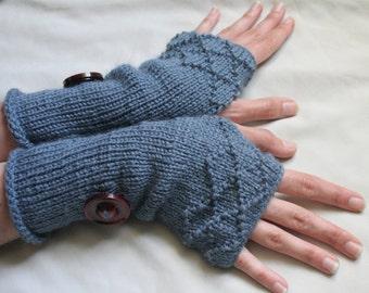 Fingerless arm warmers - knitted Irish wool - diamond brocade - Made in Ireland - blue