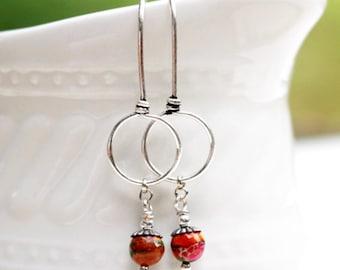 Bead Earrings Orange Earrings Red Beaded Jewelry Long Silver Dangle Colorful Multicolored Gemstone Earrings