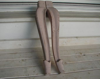 2 French shabby chic, distressed pink painted, antique period wooden furniture legs 15''h.