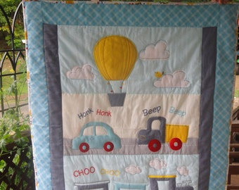 Baby Quilt.  Adventure Time Appliqued Baby Quilt, Choo Choo Trains and Hot Air Balloon, Soft Flannel in Blues, Yellow, White and Yellow.