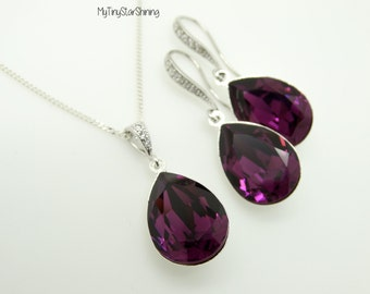 Silver Earrings Dangle Purple Earrings and Necklace Set Bridal Matching Set Swarovski Crystal Amethyst Wedding Jewelry Bridesmaid Gift