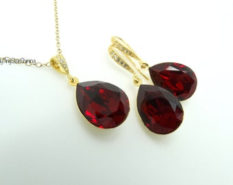 Red Earrings and Necklace Set Bridal Matching Set Swarovski Crystal Dark Red Earrings Gold Earrings Wedding Jewelry Bridesmaid Gift Siam